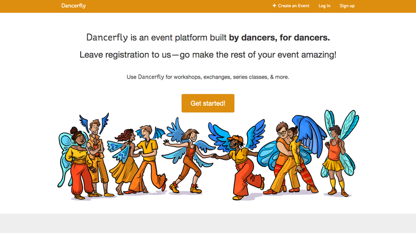 Dancerfly about page screenshot